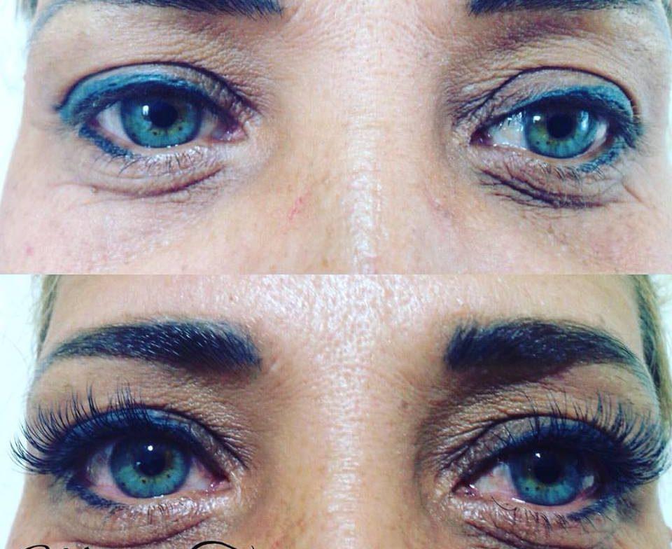 שזירת ריסים עיניים כחולות טורקיז